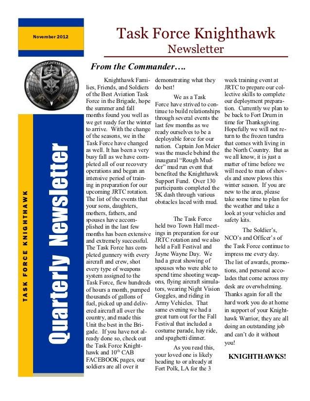 November 2012                          Task Force Knighthawk                                                              ...