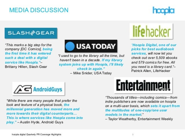 """hoopla digital Quarterly PR Coverage Highlights ! !! """"This marks a big step for the company [DC Comics], being the first t..."""