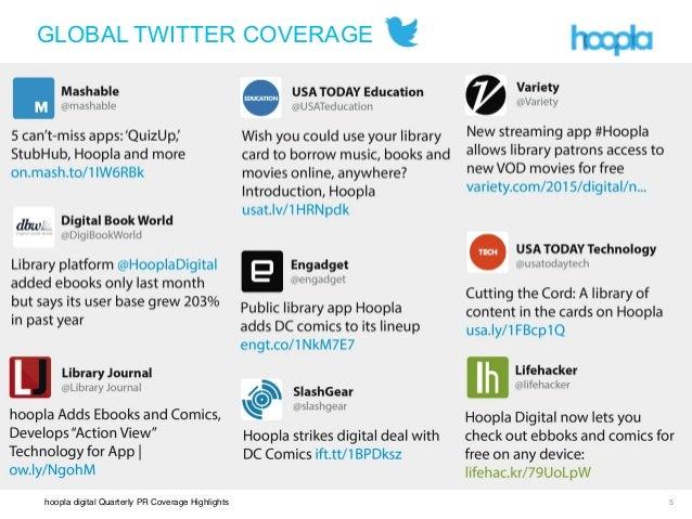 hoopla digital Quarterly PR Coverage Highlights ! !! 5 GLOBAL TWITTER COVERAGE