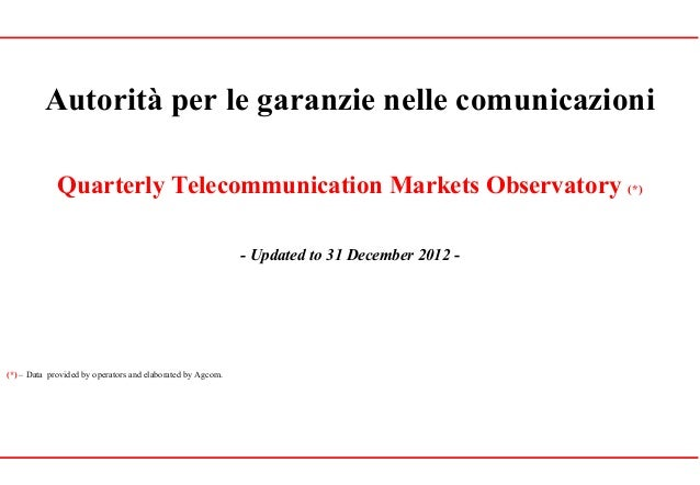 Autorità per le garanzie nelle comunicazioniQuarterly Telecommunication Markets Observatory (*)- Updated to 31 December 20...