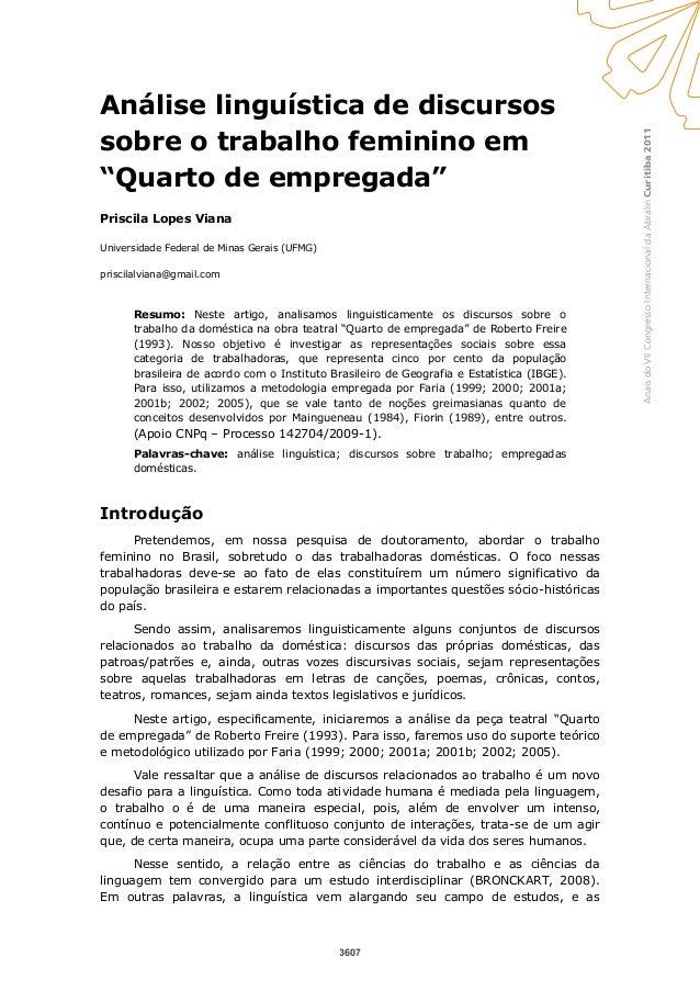 """Curitiba2011AnaisdoVIICongressoInternacionaldaAbralin Análise linguística de discursos sobre o trabalho feminino em """"Quart..."""