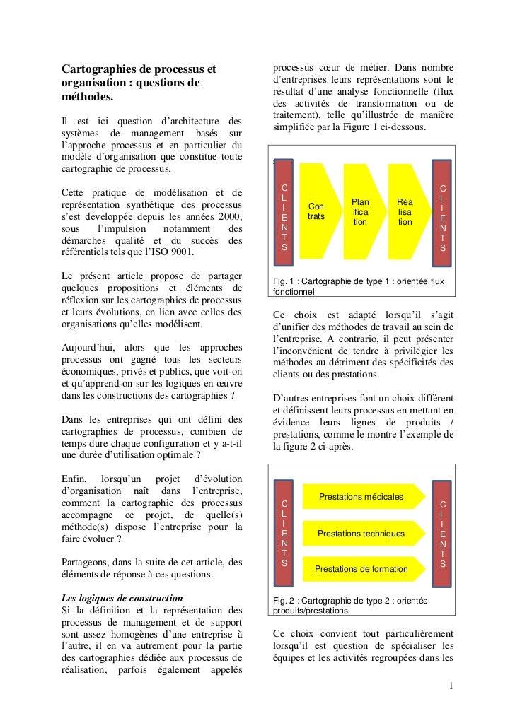 Cartographies de processus et                   processus cœur de métier. Dans nombreorganisation : questions de          ...