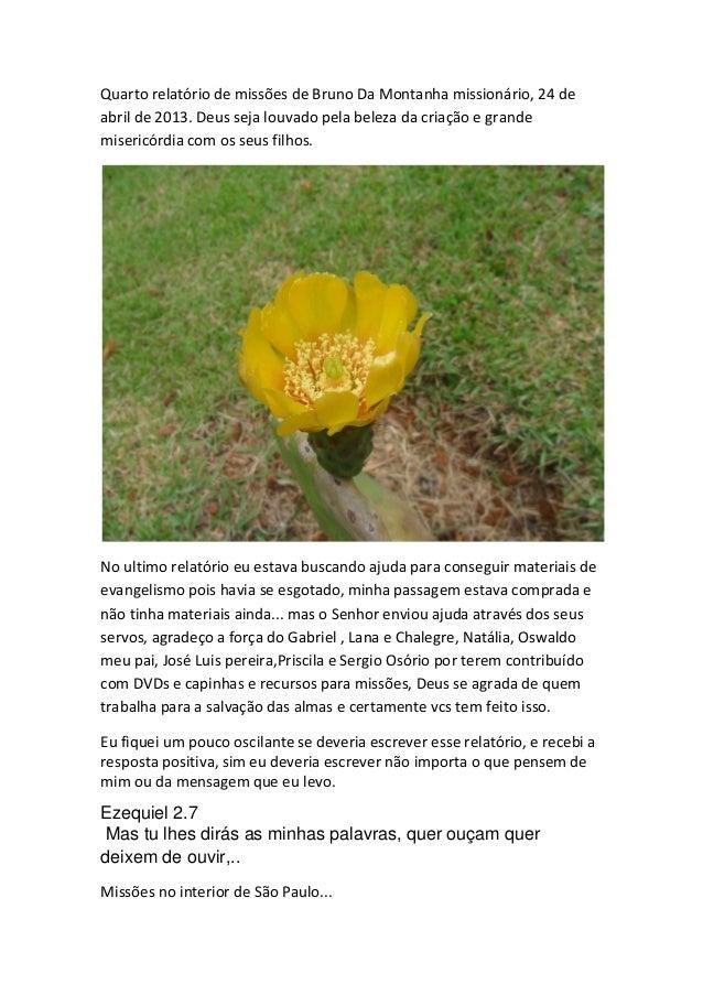 Quarto relatório de missões de Bruno Da Montanha missionário, 24 de abril de 2013. Deus seja louvado pela beleza da criaçã...