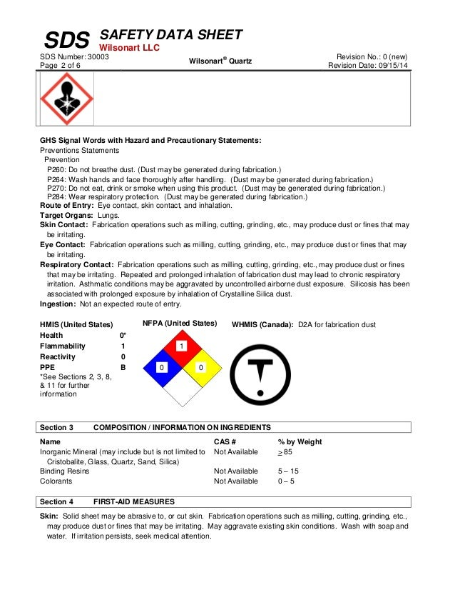 Quartz Safety Data Sheet