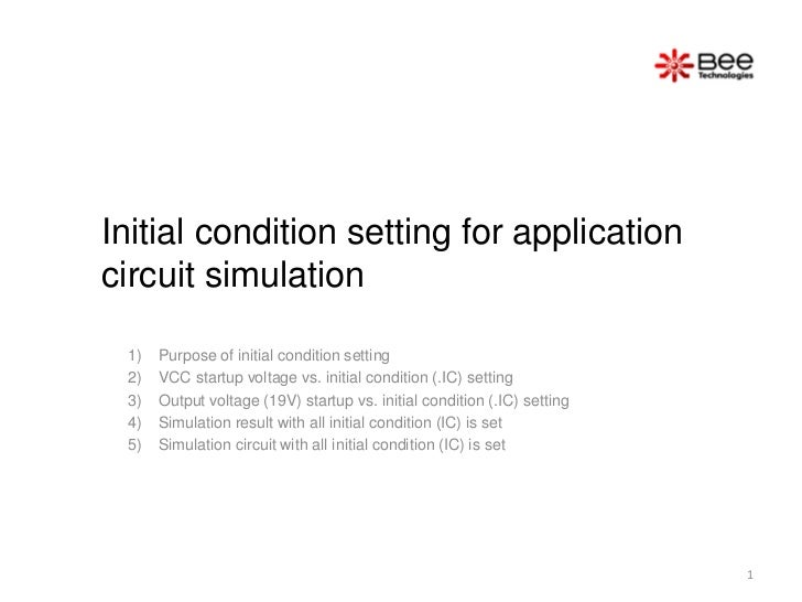 Initial condition setting for applicationcircuit simulation 1)   Purpose of initial condition setting 2)   VCC startup vol...