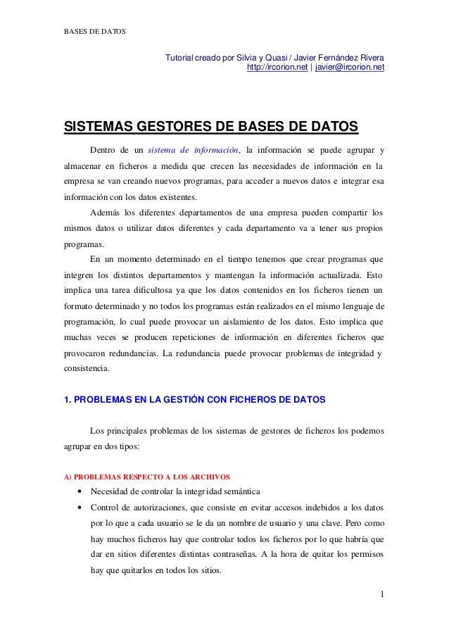 BASES DE DATOS                            Tutorial creado por Silvia y Quasi / Javier Fernández Rivera                    ...