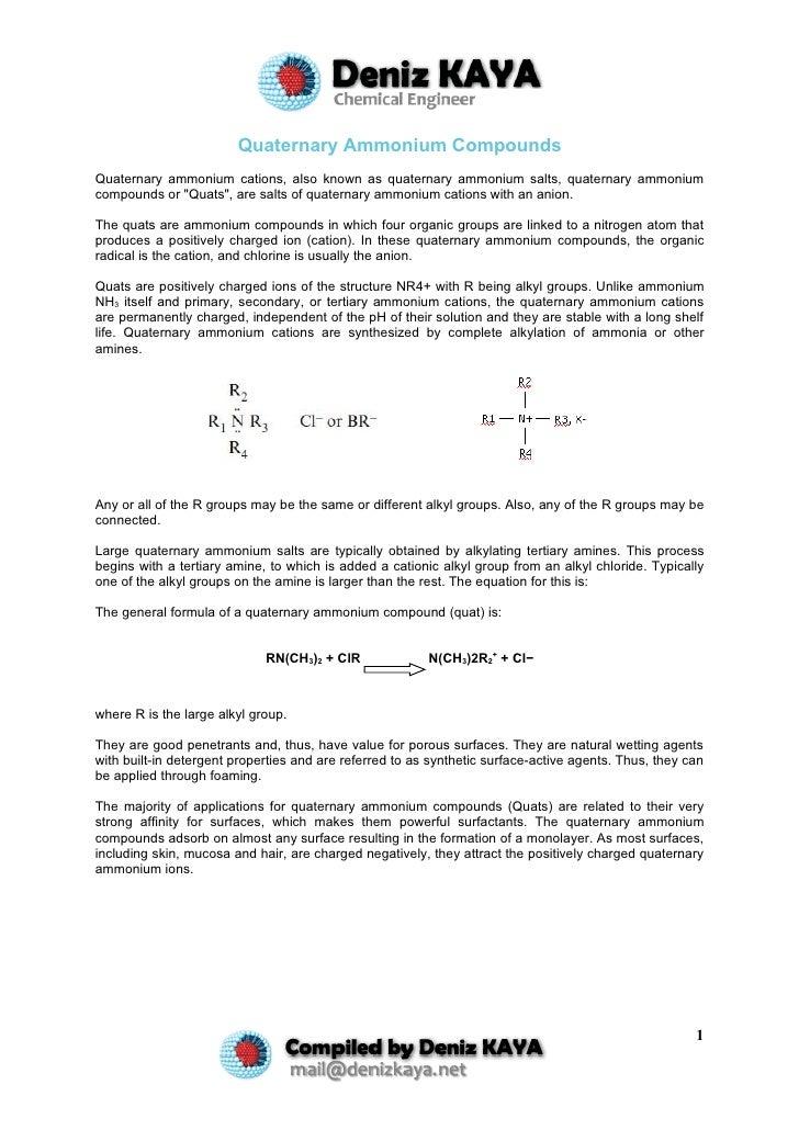 Quaternary Ammonium Compounds Quaternary ammonium cations, also known as quaternary ammonium salts, quaternary ammonium co...