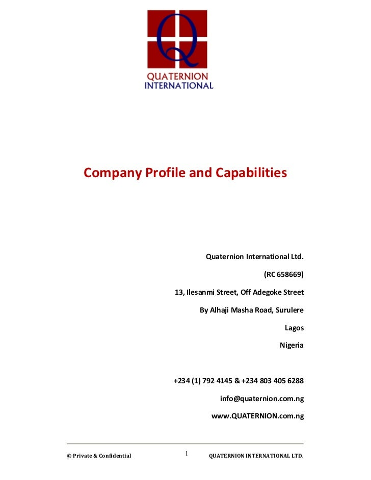 Company Profile and Capabilities                                    Quaternion International Ltd.                         ...