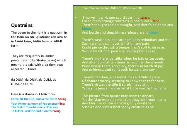 quatrain poems examples - photo #18