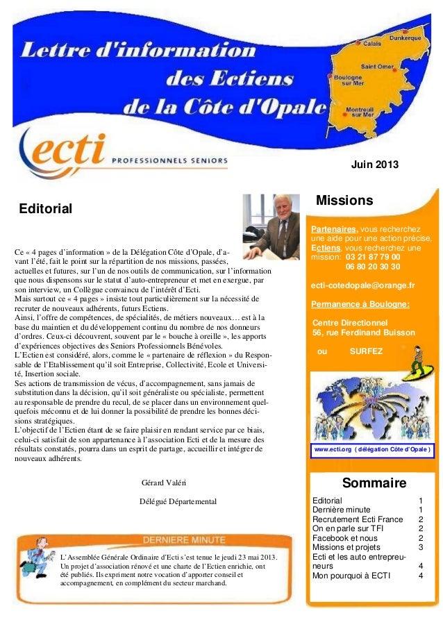 Juin 2013 Editorial Gérard Valéri Délégué Départemental Partenaires, vous recherchez une aide pour une action précise, Ect...