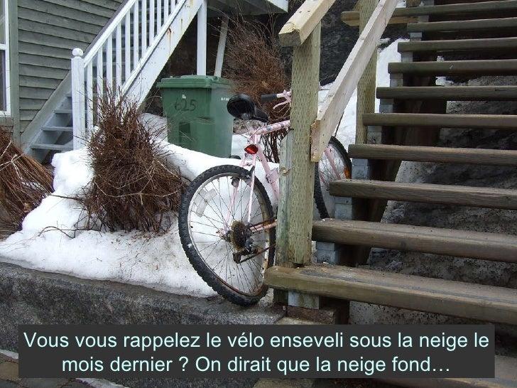 Vous vous rappelez le vélo enseveli sous la neige le mois dernier ? On dirait que la neige fond…