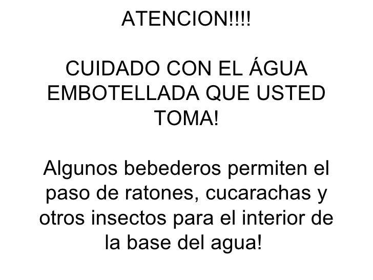 ATENCION!!!! CUIDADO CON EL ÁGUA EMBOTELLADA QUE USTED TOMA! Algunos bebederos permiten el paso de ratones, cucarachas y o...