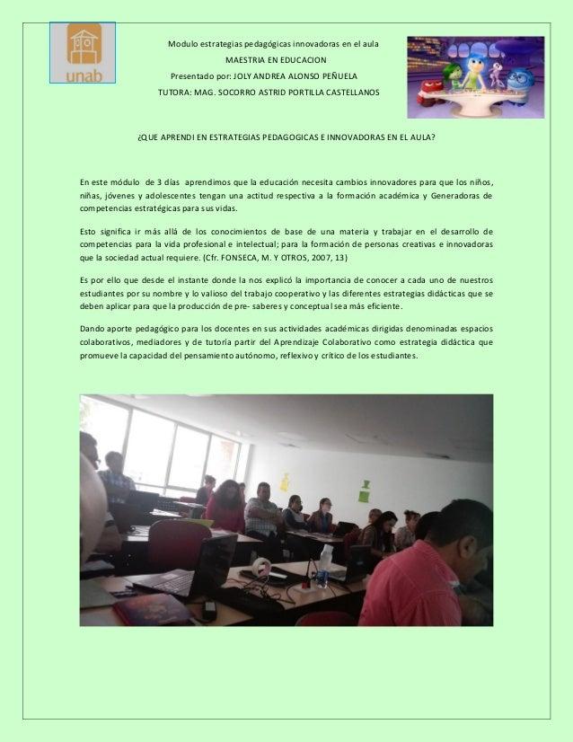 Que Aprendi En Extrategias Pedagogicas E Innovadoras En El Aula