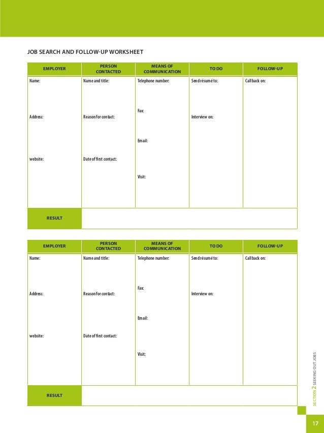 Quebec complete job search guide – Job Search Worksheet