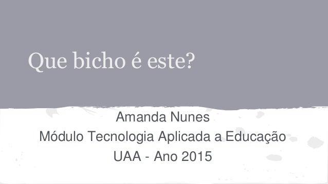 Que bicho é este? Amanda Nunes Módulo Tecnologia Aplicada a Educação UAA - Ano 2015