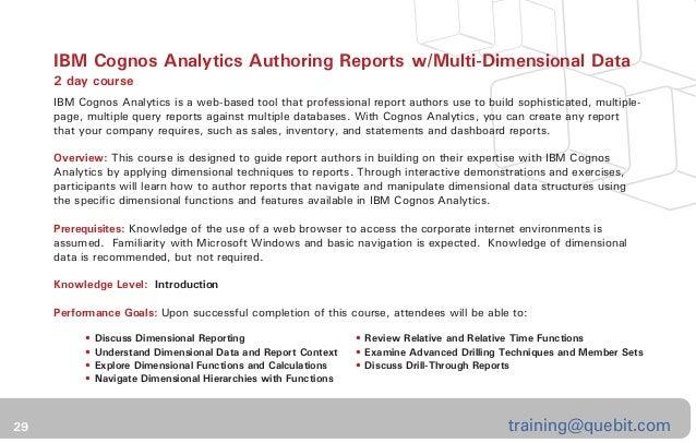 business analytics training catalog quebit trusted experts in busin rh slideshare net Cognos Tutorial 3 Cognos Tutorial 3