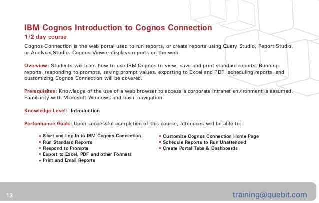cognos analytics business intelligence training catalog self paced rh slideshare net Cognos Training Chicago Cognos Report