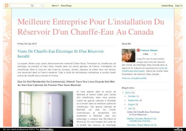 Meilleure Entreprise Pour L'installation Du Réservoir D'un Chauffe-Eau Au Canada Friday, 26 July 2013 La plupart d'entre n...