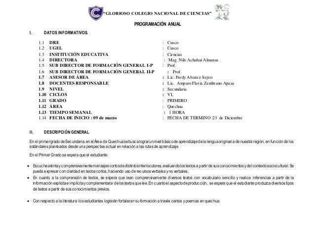 """""""GLORIOSO COLEGIO NACIONAL DE CIENCIAS"""" PROGRAMACIÓN ANUAL I. DATOS INFORMATIVOS. 1.1 DRE : Cusco 1.2 UGEL : Cusco 1.3 INS..."""