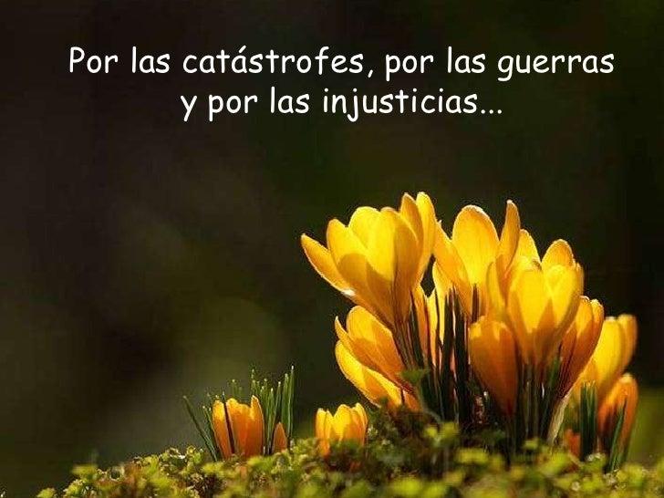 Por las catástrofes, por las guerras y por las injusticias...