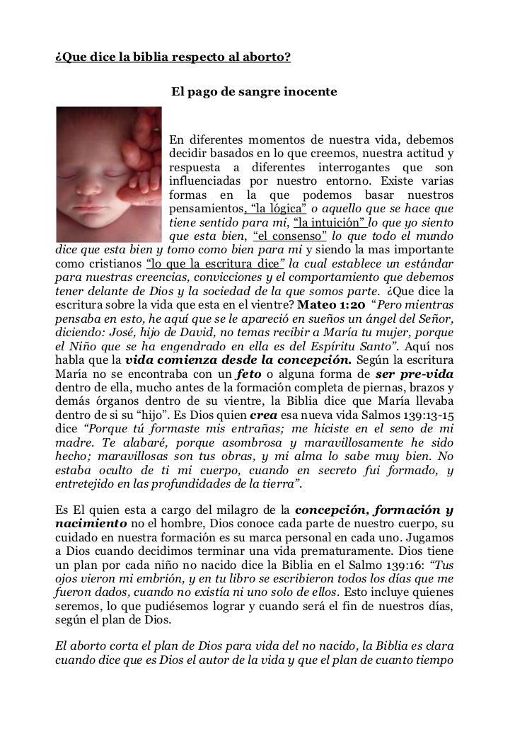 ¿Que dice la biblia respecto al aborto? <br />El pago de sangreinocente<br />163122919<br />En diferentes momentos de nue...