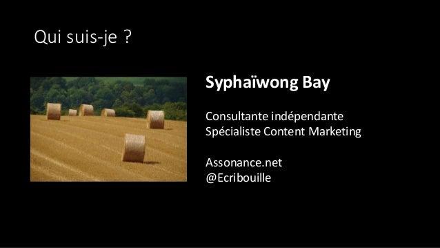 Qui suis-je ? Syphaïwong Bay Consultante indépendante Spécialiste Content Marketing Assonance.net @Ecribouille