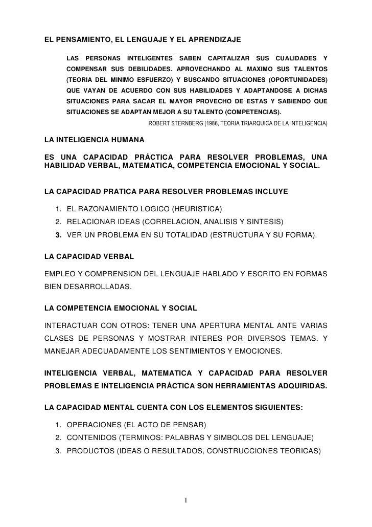 EL PENSAMIENTO, EL LENGUAJE Y EL APRENDIZAJE      LAS   PERSONAS   INTELIGENTES   SABEN     CAPITALIZAR     SUS    CUALIDA...