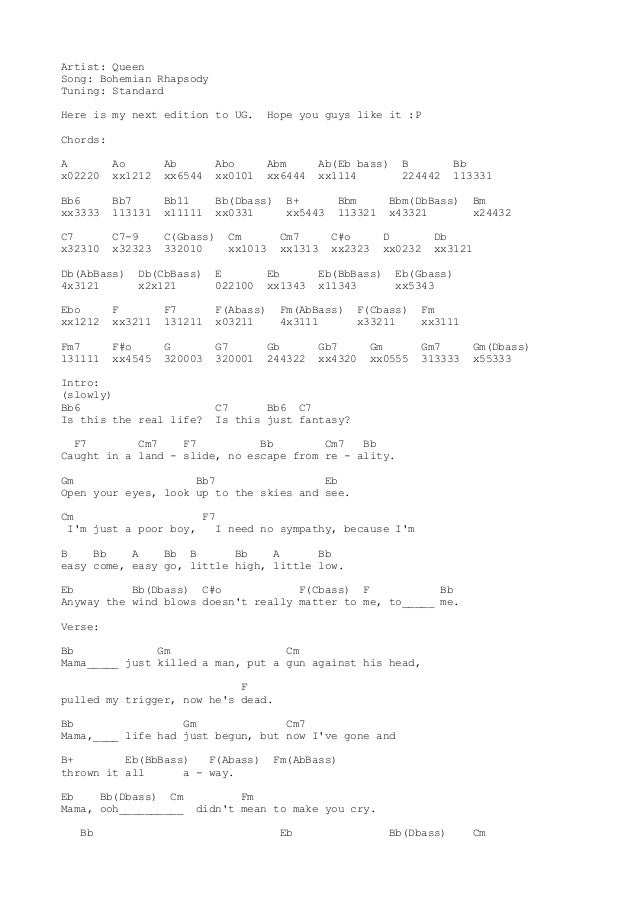 Guitar Chords For Bohemian Rhapsody Choice Image Guitar Chords
