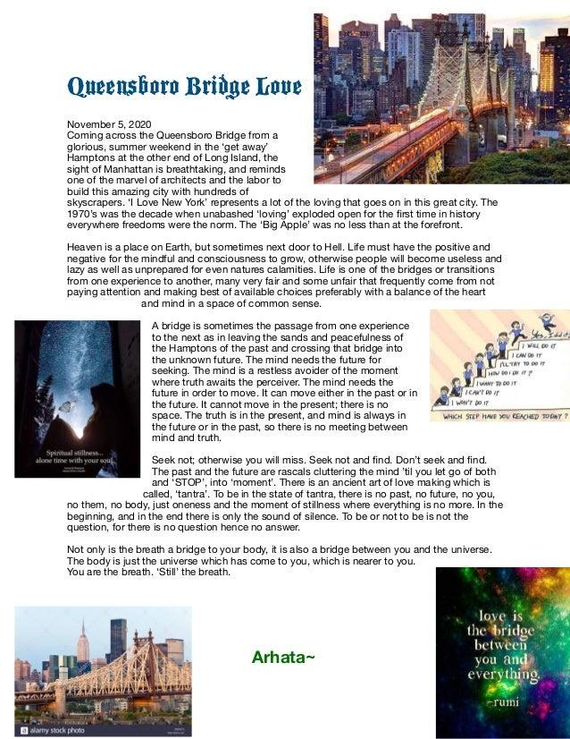 Queensboro Bridge Love   November 5, 2020  Coming across the Queensboro Bridge from a glorious, summer weekend in the 'get...