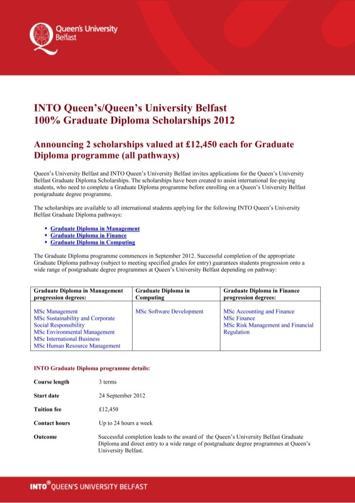 university belfast diploma % scholarships  queen s university belfast diploma 100% scholarships 2012 2013