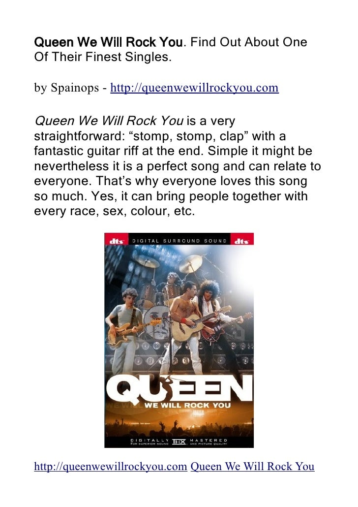 Queen We Will Rock You. Find Out About One Of Their Finest Singles.  by Spainops - http://queenwewillrockyou.com  Queen We...