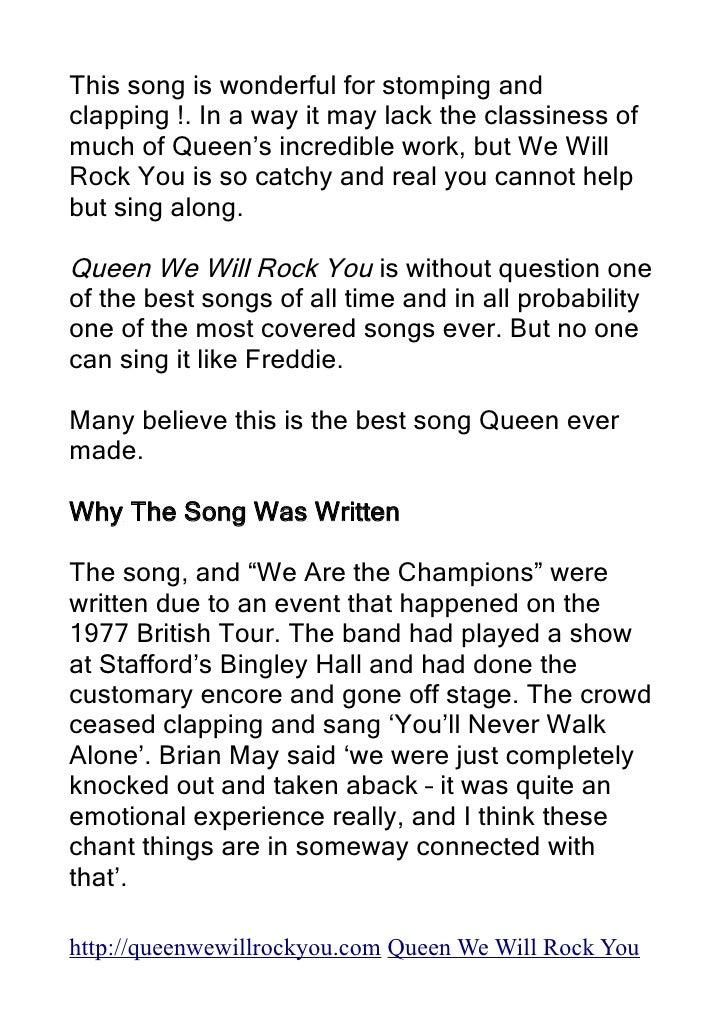 Lyric queen songs lyrics : Queen We Will Rock You