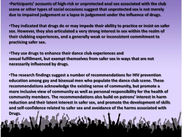 Participants identified a number of key experiences and attributes of the dance club scene.<br /><ul><li>These include get...