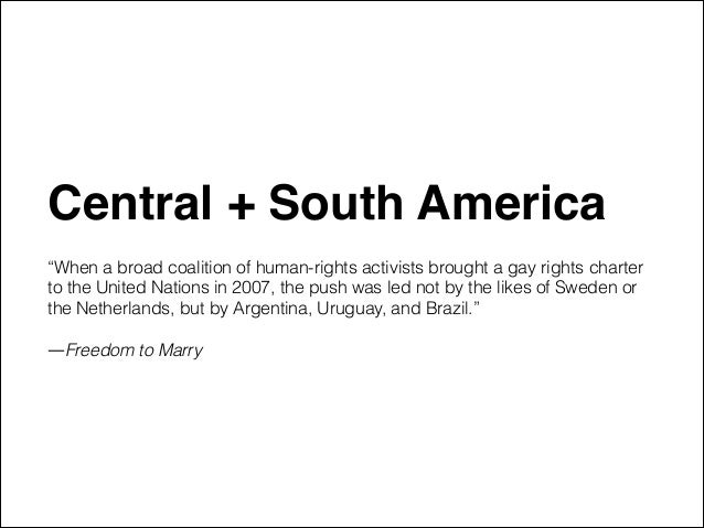 """Central + South America"""" ! """"When a broad coalition of human-rights activists brought a gay rights charter to the United Na..."""