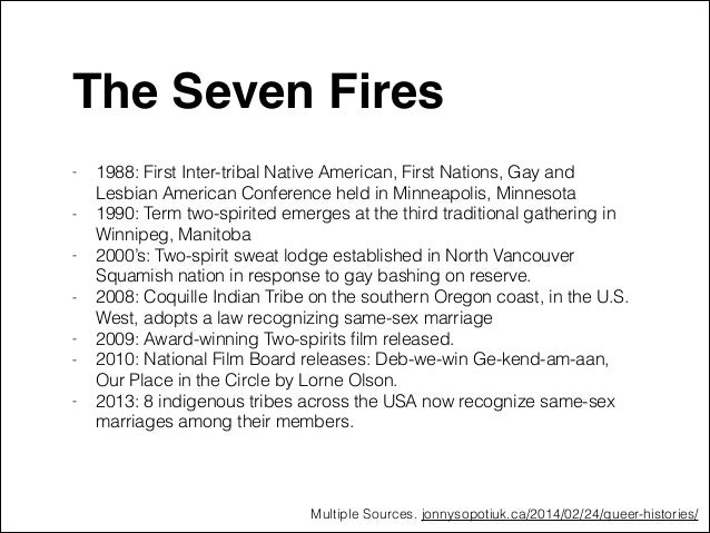"""The Seven Fires""""  -  1988: First Inter-tribal Native American, First Nations, Gay and Lesbian American Conference held in..."""