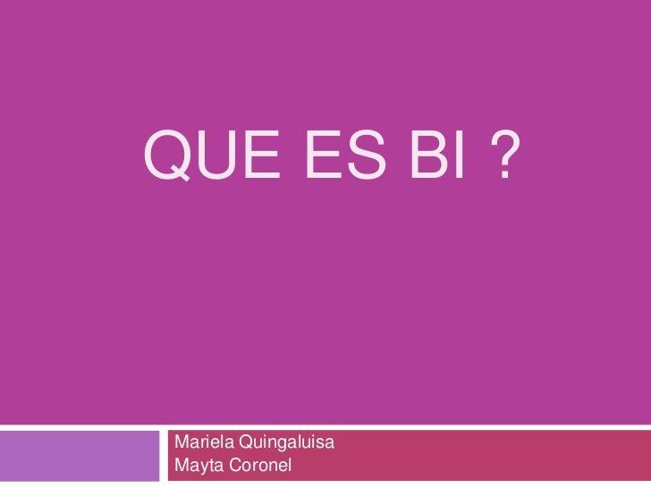 QUE ES BI ?Mariela QuingaluisaMayta Coronel