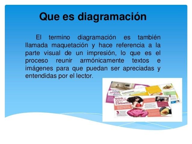 Que es diagramación El termino diagramación es también llamada maquetación y hace referencia a la parte visual de un impre...