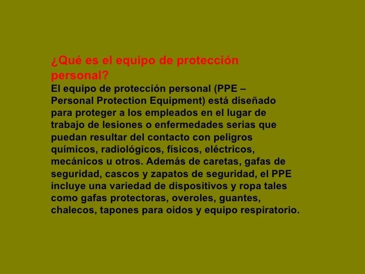 Que es el equipo de proteccion personal