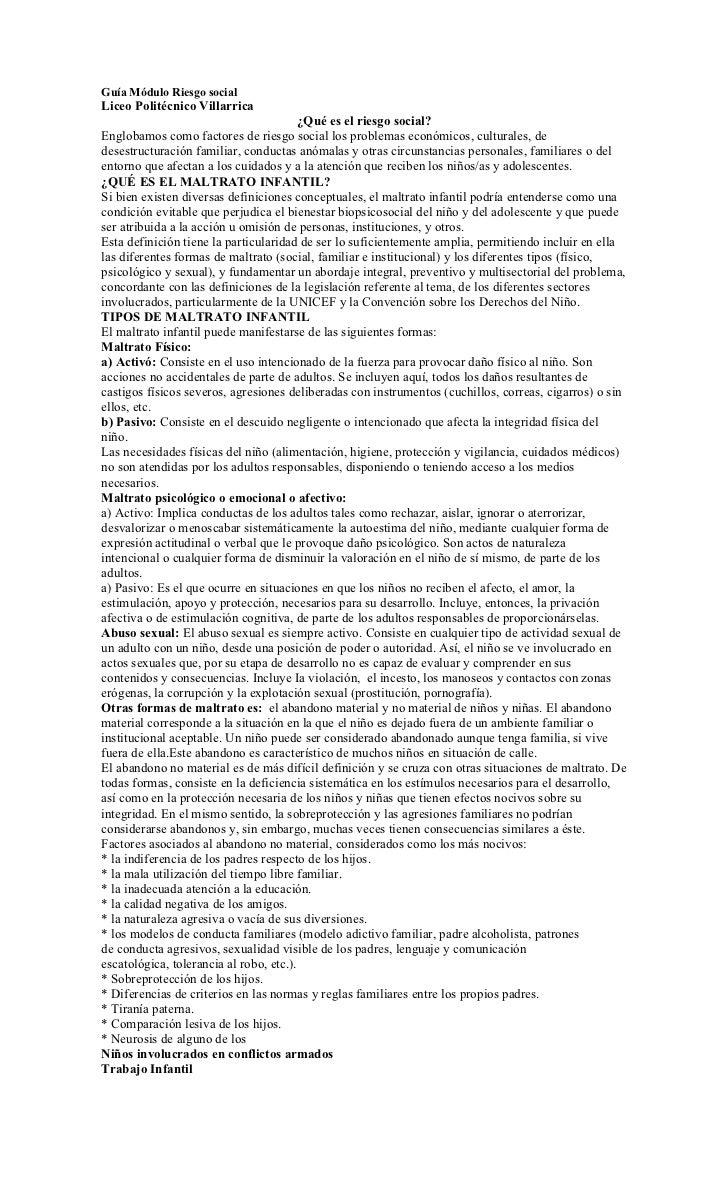 Guía Módulo Riesgo socialLiceo Politécnico Villarrica                                         ¿Qué es el riesgo social?Eng...