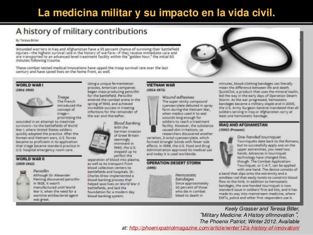 """Keely Grasser and Teresa Bitler, """"Military Medicine: A History ofInnovation"""", The Phoenix Patriot; Winter 2012. Available ..."""