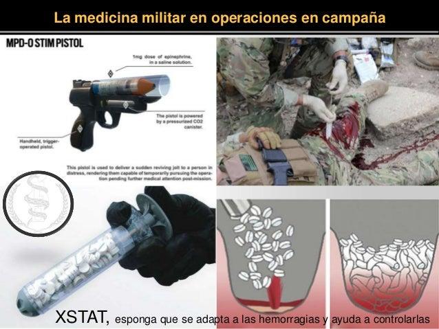 La medicina militar en operaciones en campaña XSTAT, esponga que se adapta a las hemorragias y ayuda a controlarlas