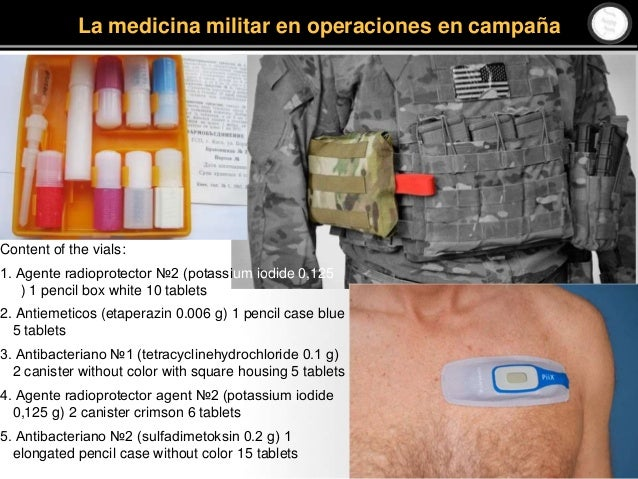 Content of the vials: 1. Agente radioprotector №2 (potassium iodide 0,125 g) 1 pencil box white 10 tablets 2. Antiemeticos...