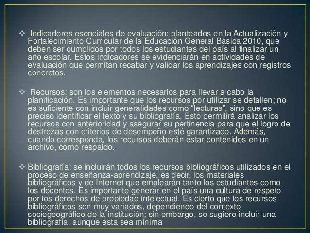  Indicadores esenciales de evaluación: planteados en la Actualización y Fortalecimiento Curricular de la Educación Genera...