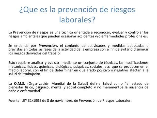 Que es la prevenci n de riesgos laborales for Prevencion de riesgos laborales en la oficina