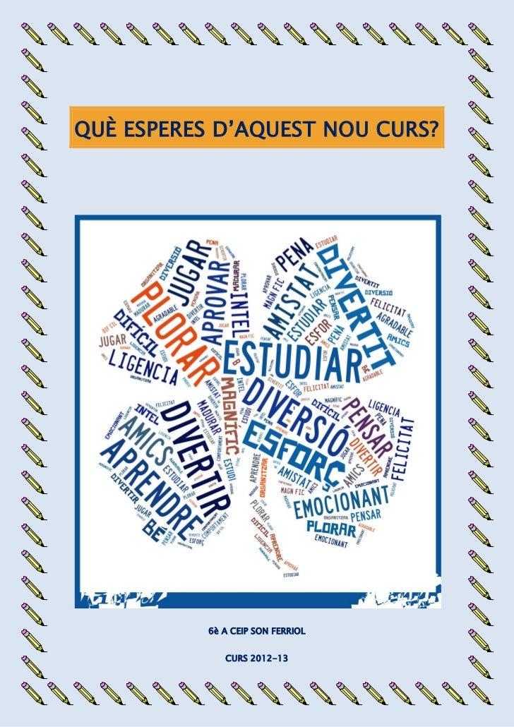 QUÈ ESPERES D'AQUEST NOU CURS?           6è A CEIP SON FERRIOL              CURS 2012-13
