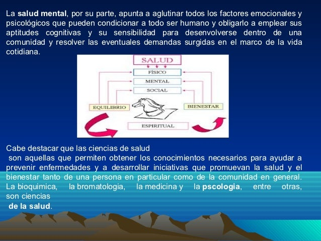 La salud mental, por su parte, apunta a aglutinar todos los factores emocionales ypsicológicos que pueden condicionar a to...