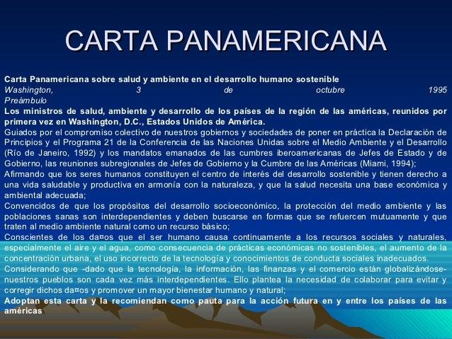 CARTA PANAMERICANACarta Panamericana sobre salud y ambiente en el desarrollo humano sostenibleWashington,                 ...