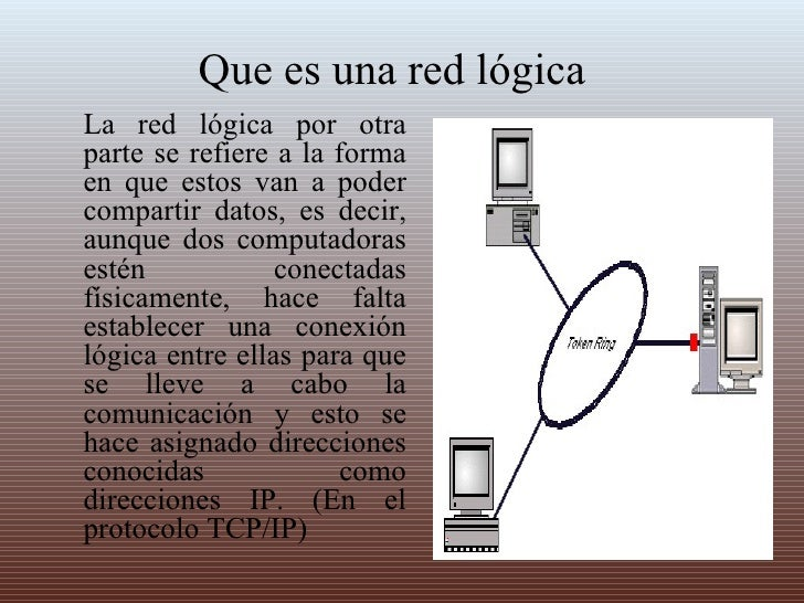 Que es una red lógica La red lógica por otra parte se refiere a la forma en que estos van a poder compartir datos, es deci...