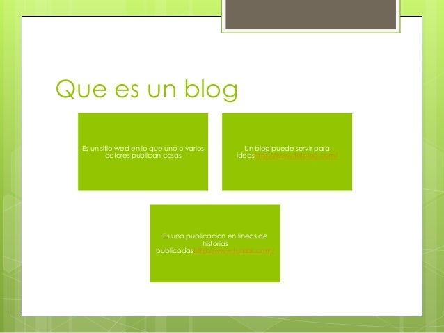 Que es un blog Es un sitio wed en lo que uno o varios actores publican cosas  Un blog puede servir para ideashttp://www.fo...