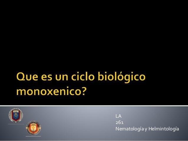 LA 261 Nematología y Helmintología